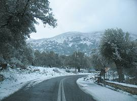 Snowy day in Naxos